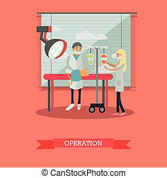Surgical operation in vet clinic concept vector...