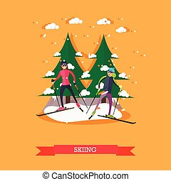 Vector illustration of people skiing in flat design - Vector...