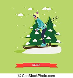 Vector illustration of skier in flat design - Vector...