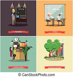 Vector set of school concept design elements in flat style -...