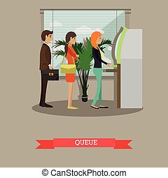 Vector illustration of ATM, people waiting in line for cash