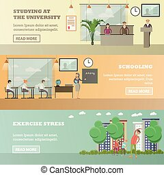 Vector set of education concept horizontal banners in flat...