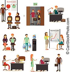 Vector set of business people icons, design elements, flat style