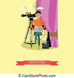 Vector illustration of producer reading screenplay in flat...
