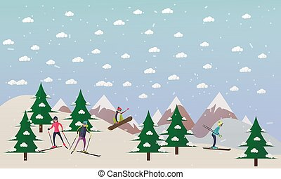 Vector illustration of ski track and people skiing, flat...