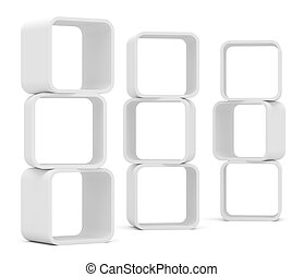 Empty white rounded showcase. Isolated on white. Mock-up....
