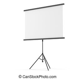 Blank projection screen on tripod. Isolated on white. 3D...