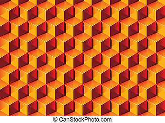 Warm colors transparent Boxes 3D pattern Vector Illustration...