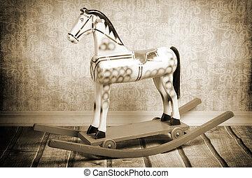 Wooden rocking horse - Vintage wooden rocking horse,...