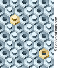 Bolts and screws 3D pattern. Vector Illustration.