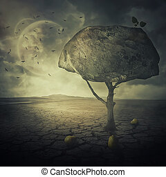 pear tree on planet - Surreal background as a bizarre pear...