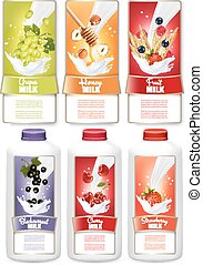 Set of three labels of fruit and berries in milk splashes. Grapes, strawberry, blueberry, honey, orange. Vector..