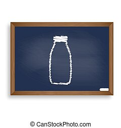 Milk bottle sign. White chalk icon on blue school board with...