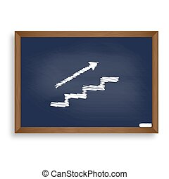 Stair with arrow. White chalk icon on blue school board with...