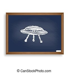 UFO simple sign. White chalk icon on blue school board with shad