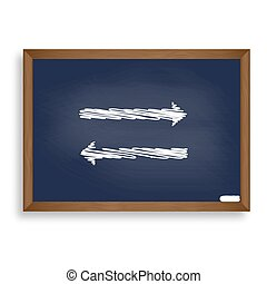 Arrow simple sign. White chalk icon on blue school board...