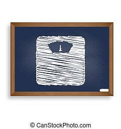 Bathroom scale sign. White chalk icon on blue school board with