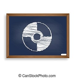 Vector CD or DVD sign. White chalk icon on blue school board...