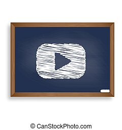 Play button sign. White chalk icon on blue school board with...