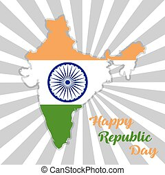 Republic Day India. Map of India with flag