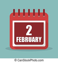 Calendar with 2 february in a flat design. Vector illustration
