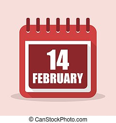 Valentines day. Calendar with 14 february in a flat design