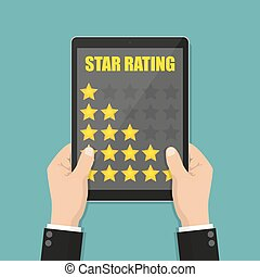 Businessman hands holding tablet with star rating in a flat...