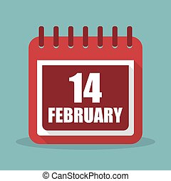 Calendar with 14 february in a flat design. Vector...