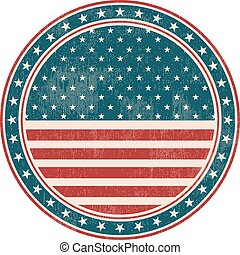 USA flag stamp with grunge. Vector illustration