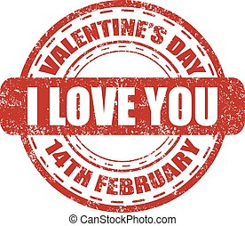 I love you grunge stamp for Valentine's Day in 14 february