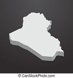 Iraq map in gray on a black background 3d