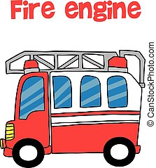 Red fire engine cartoon vector art illustration
