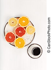 Citrus variety served for breakfast - Colorful kaleidoscope....