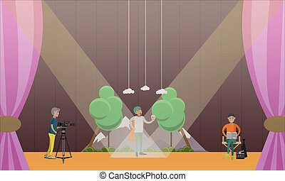Vector illustration of actor playing at the theater, flat design.