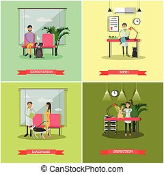 Vector set of veterinary care concept posters, banners, flat...