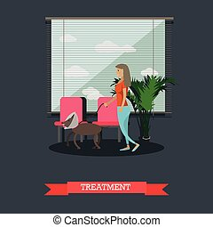 Treatment of pets in vet clinic concept flat vector...
