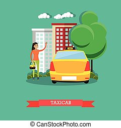 Taxicab concept vector illustration, flat design