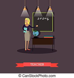 Vector illustration of mathematics teacher in flat style -...