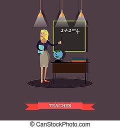 Vector illustration of mathematics teacher in flat style -...