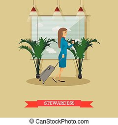 Vector illustration of stewardess with baggage in flat style...