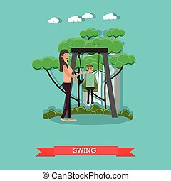 Vector illustration of mother swinging her son in the...