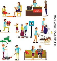 Vector set of volunteers icons isolated, flat style design -...