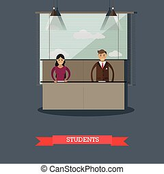 Vector illustration of students in flat style - Vector...