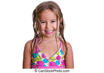 Happy little girl with toothy smile - Happy little girl in...