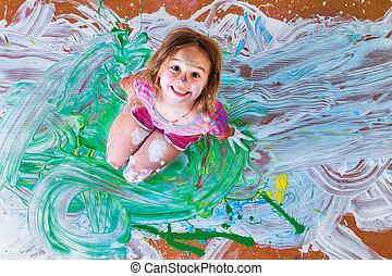 很少, 創造性, 畫, 樂趣, 女孩, 有