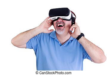 Laughing man with virtual reality glasses - Laughing man in...
