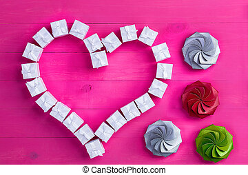 Valentines Day shapes made from gift boxes - Top down view...