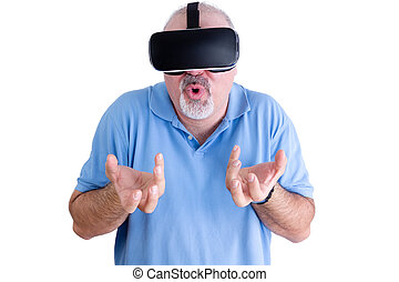 Man reacts to wearing virtual reality glasses - Man in blue...