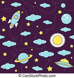 Space pattern with stars and clouds.