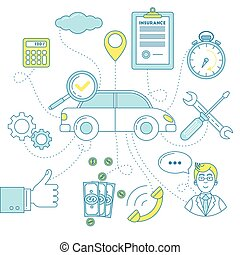 Car insurance illustration. Protection and repair support,...